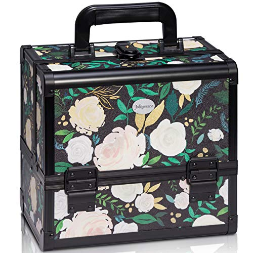 (Joligrace Makeup Train Case Cosmetic Organizer Box Lockable with 3 Trays and a Brush Holder Pattern Collection White Flower)