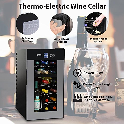 NutriChef Thermoelectric Wine Cellar - Red and White Wine Cooler- Dual Zone Wine Chiller - 18 Bottles Countertop Wine Refrigerator - LCD Display Digital Touch Controls – Great for Home or Events by NutriChef (Image #3)