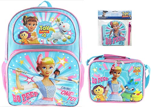 Toy Story 4 Bo Peep 16 inch Backpack with Insulated Lunch Bag, Notepad and Pen! ()