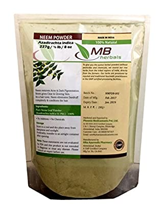 MB Herbals Pure Neem Leaf Powder 227g | Half Pound | 8 oz/0.5 LB | 100% Pure Wild crafted | Very Bitter Neem Supplement for Skin Hair & Detox - Azadirachta indica