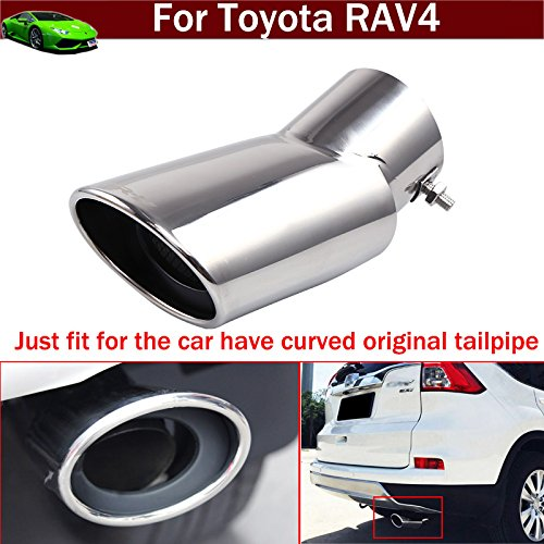 (Chaoben New 1pcs Silver Color Stainless Steel Tailpipe Exhaust Muffler Tail Pipe Tip Cover Trim for Toyota RAV4 2012 2013 2014 2015 2016 2017 2018 2019 (Just fit for The car Have Curved tailpipe))