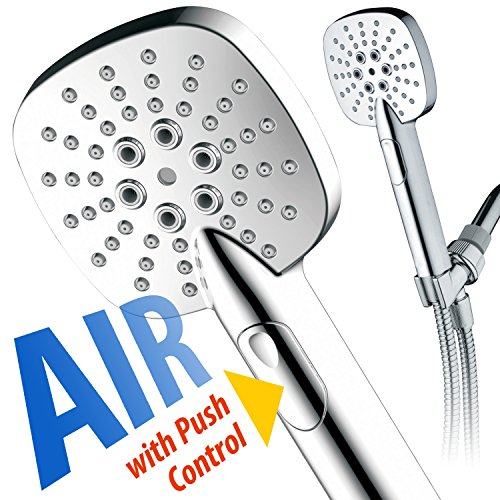 AirJet-350 High Pressure Luxury Multi-Function Hand Shower with High-Velocity Flow Accelerator(TM) Hydro-Engine for More Power with Less Water! Latest Square Oval Design and Push-button Flow Control by Turbo Spa (Image #1)