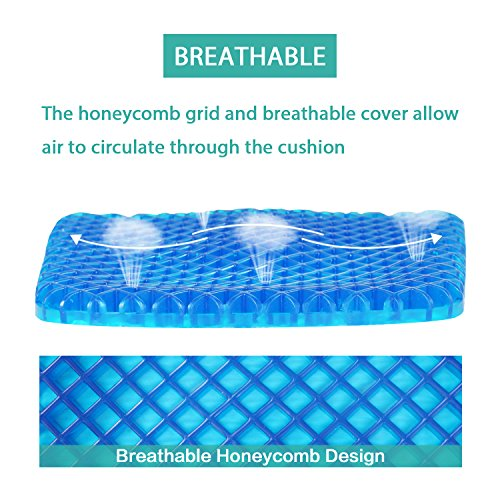 Turquoize Gel Seat Cushion Pain Relief Gel Pad Seat Cushion Honeycomb Design Pressure Absorbs Sitter Elastic Support Chair Pad Office, Dinner, Driving, Wheelchair & Mobility Scooter Cushions by Turquoize (Image #2)