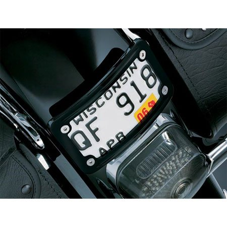 Kuryakyn 3148 Gloss Black Curved Laydown License Plate Mount with Frame For Harley-Davidson (KU 3148) (Curved Plate Kuryakyn License Frame)