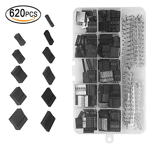 620 Pcs 2.54mm Pitch 1 2 3 4 5 6 Pin JST SM Housing Connector Dupont Male Female Pin Header Crimp Terminal Connector Assortment Kit with Clear Plastic Box (Connector Housing Pin Female 4)