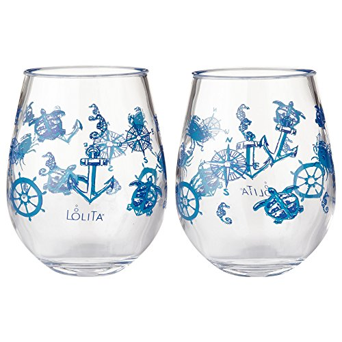 Enesco Designs by Lolita Set Sail Acrylic Stemless Wine Glasses, Set of 2, 17 oz.