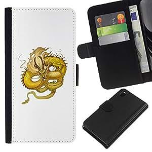 All Phone Most Case / Oferta Especial Cáscara Funda de cuero Monedero Cubierta de proteccion Caso / Wallet Case for Sony Xperia Z3 D6603 // Yellow Dragon Flying Serpent Moustache