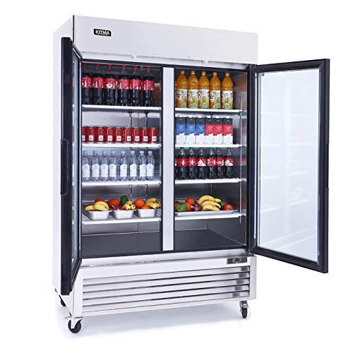 KITMA Merchandiser Refrigerator with 2 Glass Door – Commercial 49 Cu.Ft Display Beverage Cooler with LED Lighting, 33°F – 46°F
