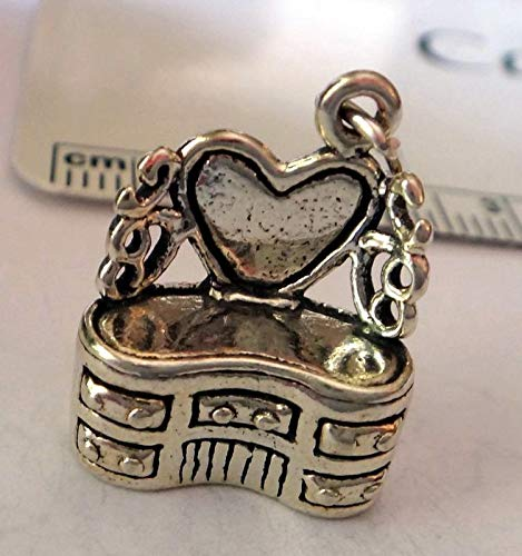 Sterling Silver 3D 18x14mm Furniture Chest Drawers Dresser Vanity Mirror Charm Vintage Crafting Pendant Jewelry Making Supplies - DIY for Necklace Bracelet Accessories by CharmingSS from CharmingStuffS