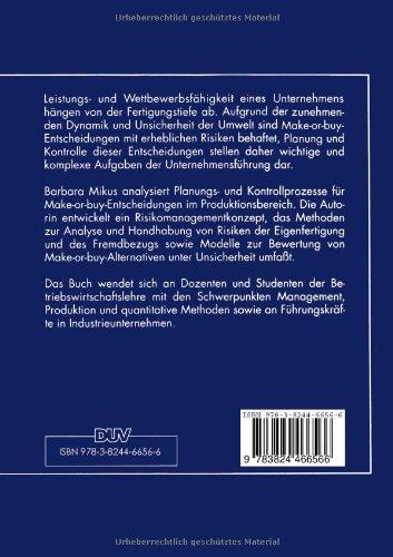 makeorbuyentscheidungen in der produktion gabler edition wissenschaft