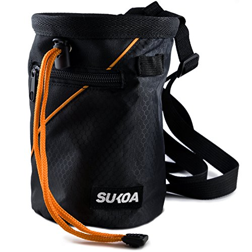 Sukoa Chalk Bag with Quick-Clip Belt and 2 Large Zippered (Rock Climbing Rigging)