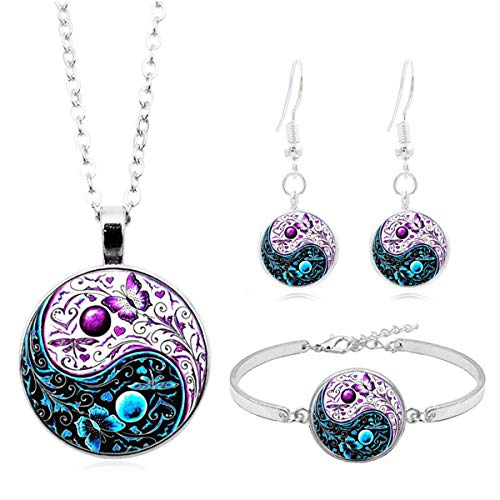 wentaotao Tai-Chi Yin-Yang Butterfly Necklace Earrings Bracelet 3pcs Gemstone Butterfly Jewelry - Gemstone Yang