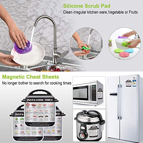 Accessories Set for Instant Pot-Fits 6,8Qt Pressure Cooker,12-Pcs with Steamer Basket/Egg Steamer Rack/Egg Bites Molds/Non-stick Springform Pan/Magnetic Cheat Sheets/Oven Mitts/Silicone Sponge by Will Well (Image #4)