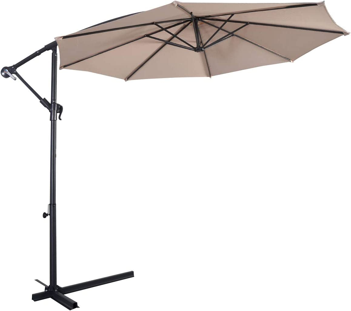 HAPPYGRILL 10FT Patio Umbrella Offset Outdoor Hanging Market Umbrella with Crank Cross Base
