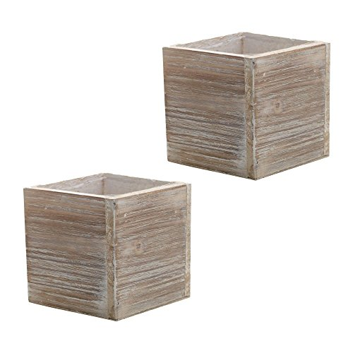 Wood Planter Box, Rustic Whitewash, 6 Inch, Wedding Decor and Floral Arrangements, Country House Charm, Plastic Liners, Wooden Square, Natural Style, Beige Set of 2