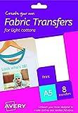 Avery HTT01 Printable Fabric Transfers for Light Cottons, 1 transfer Per A5 Sheet