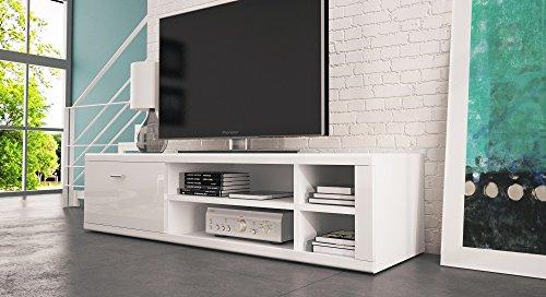 Elegantes, modernes TV Ständer Ivo/TV-Tisch//kostenloser Versand Lowboard Sideboard (Mattweiß)