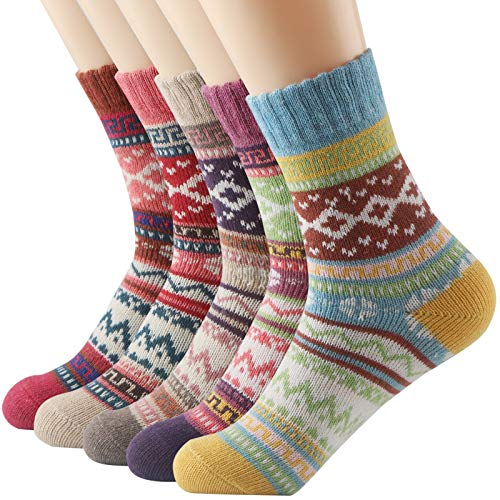 Thsbird Women's Thick Warm Ankle Crew Socks Women No Show Casual Soft Wool Sock 5-Pack