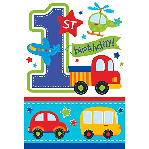 Invitations 8 Party Piece (All Aboard! Birthday Party Die‑Cut Postcard Invitations, Multi Colored, Paper, 4 1/4