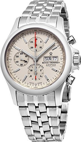 Revue Thommen Air Speed Pilot 41 MM Mens White Dial Stainless Steel Automatic Chronograph Day Date Swiss Watch 17081.6132