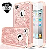 iPhone 4S Case,iPhone 4 Case with Tempered Glass Screen Protector [2 Pack],LeYi Glitter Bling Girls Women Dual Layer Heavy Duty Protective Phone Case for iPhone 4 / 4S / 4G TP Rose Gold