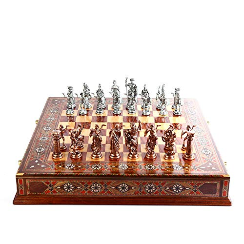 Historical Antique Copper Rome Figures Metal Chess Set for Adult and Kids,Decorative Handmade Pieces and Natural Solid Wooden Chessboard with Original Pearl Around Board and Storage Inside King 4 inc