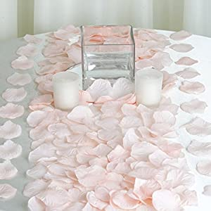 NiceWave 2000 Silk Rose Petals Wedding Decorations Bulk Supplies - Blush 37