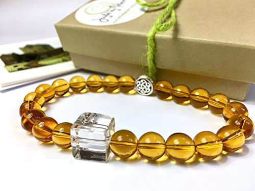 Women's Whiskey-Lover Quartz and Glass Bead Bracelet - 2 Styles with Silver Irish Celtic Knot - Unique Jewelry Gift - Stretch ()