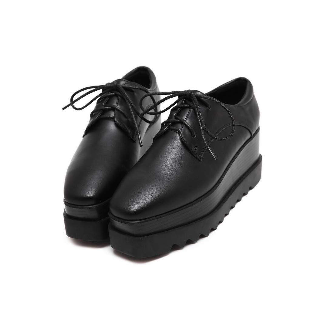 Hy Damen Freizeitschuhe, Frühling/Herbst / Winter Komfort Turnschuhe, Slip-Ons Lace-up Keilabsatz Schuhe, Damen Square Head Fashion Flache Loafers (Farbe : Schwarz, Größe : 36)