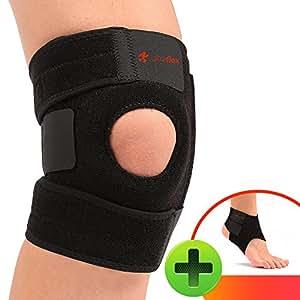 Ultra Flex Athletics | Best Knee Brace & Support Open Patella,One Size Adjustable, Neoprene good Sports Compression | relieves joint pain and treats Arthritis, Acl Tear, Meniscus Tear, Tendonitis | Bonus Ankle Brace