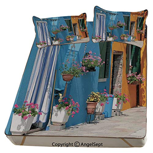 (Tuscan,Summer Cooling Mat 3D Printing Foldable Folding Summer Ice Silk Cover Cool Mat with Pillowcase(Queen) Retro Tuscan House with Brick Road Flower Pots Outside Sovana Tuscany View )