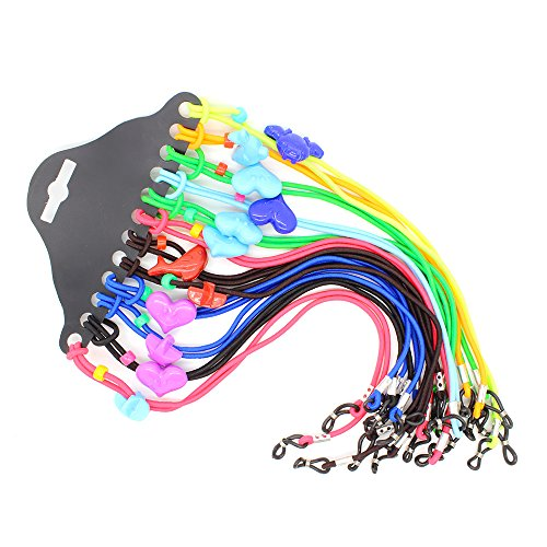 CROISSANT 12pcs Colorful Elastic Adjustable Nylon Cord Safety Kids Eyeglass Rope Chains Holder Eyewear Cord Neck Strap 【Exquisite Gift - Cheap For Kids Glasses Frames
