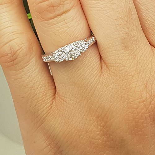 Dazzlingrock Collection 1.00 Carat (ctw) 14K Round White Diamond 3 Stone Bridal Engagement Ring 1 CT, White Gold, Size 8 by Dazzlingrock Collection (Image #6)