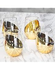 MyGift Modern Stemless Wine Glasses, Set of 4
