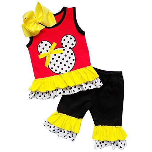 [So Sydney Girls Toddler 3 Pc Polka Dot Minnie Mouse Capri Tank Outfit, Accessory (XL (6), Red)] (Mickey Dress)