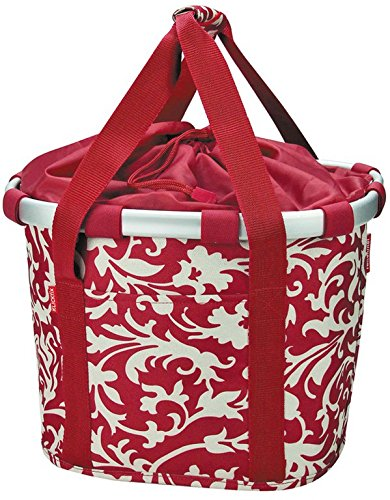 Klickfix 2179238300 - Cestino per bici, motivo barocco, 35 x 28 x 26 cm, colore: Rosso