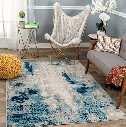 Rugshop Sky Collection Whimsical Abstract Area Rug 5 x 7 Blue