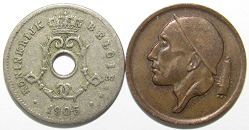 BE 1905 & 1966 Lot of 2 Belgium 5 & 50 Centimes Coins Fine/VF+