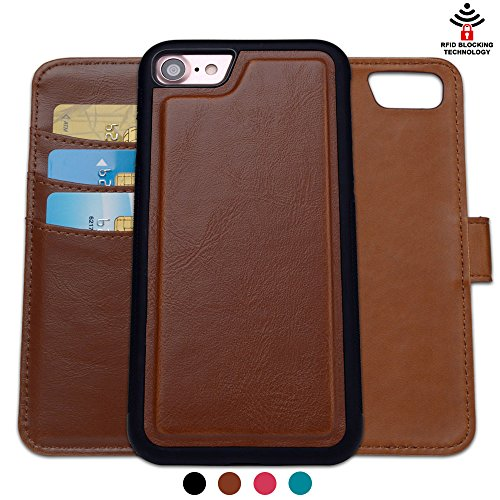 Shanshui I7BCASE110-4 RFID Blocking Detachable 2-in-1 Leather Wallet Case with 3 RFID Card Holders and 1 Cash Pocket for iPhone 7 (4.7-Inch) - Brown