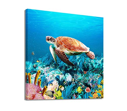 Bathroom Wall Decor Sea Turtle Wall Pictures Blue Coastal Beach Theme Canvas Wall Art Wall Decorations for Kids Bedroom Canvas Art Ocean Artwork for Walls Sealife Underwater Coral Framed Wall Art