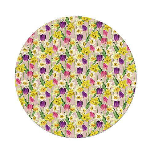 Crown Tulip Stems - iPrint Polyester Round Tablecloth,Daffodil Decor,Tulip Daffodil Flower Stems Leaves Summertime Vintage Floral Artwork,Purple Yellow Green,Dining Room Kitchen Picnic Table Cloth Cover Outdoor in