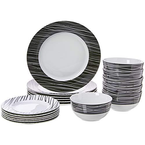 AmazonBasics 18-Piece Kitchen Porcelain Dinnerware Set, Dishes, Bowls, Service for 6, Sketch