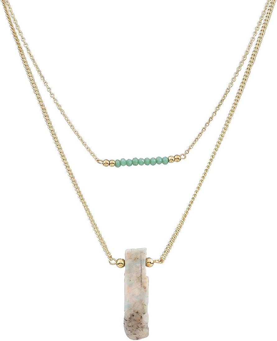 QIYUN.Z Las Mujeres Verde Cristal Doble Capa De Piedra Collar Colgante Babero Aleacion Gruesos