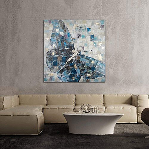 SIMIGREE 24x24 in Artistic Butterfly Pattern Hand Painted Oil Paintings Canvas Wall Decor Artwork Painting Wood Inside Frame Ready Hang Home Decorations for Living Room