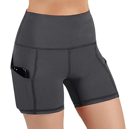 czos88 Mujer Cintura Alta Pantalones Yoga Ejercicio Calzones Elástico Deporte Correr Pantalones Cortos Reductor Abdomen con Bolsillos Laterales - Gris ...