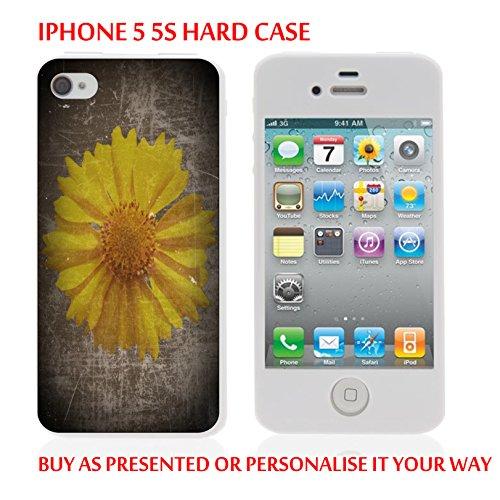 Gc75_iph55s iPhone 5/5S case Coque rigide fleur pour tablette Jaune personnaliser votre texte personnalisé produits fabriqués et vendus Par ThatVinylPlace