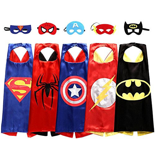 SPESS Comics Cartoon Hero Costumes 5 set Party Dress up Toddlers Capes and Masks (Toddlers Costumes For)
