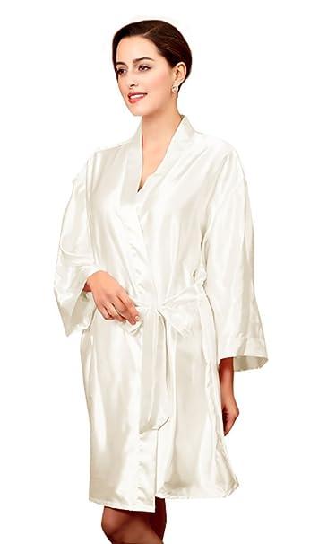 una grande varietà di modelli 2020 acquista l'originale NiSeng Donna Pigiama Seta Estivo Manica Lunga Satin Accappatoio Cintura  Abito da Sera