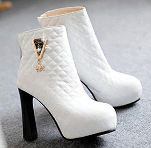 Aisun High Women's Boots White Heels Short Block Platform Dressy PrxtdZPn