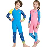 YIFEIKU Co.,Ltd. Kids Swimsuits One Piece Neoprene Wet Suits for Boys Girls Long Sleeve UPF50+ Quick Dry Swimming Wear (Girls Pink Height 50-53in Age7-8)